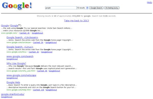 Design Google v roce 1998